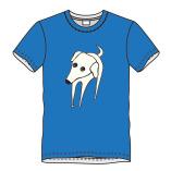 T-shirt hond-blauw