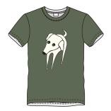T-shirt hond-olijf
