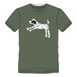 T-shirt springhond-olijf