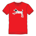 T-shirt springhond-rood