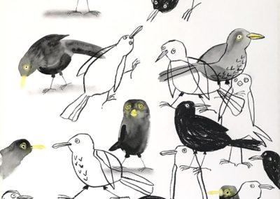 Blackbirds. Aquarel en houtskool op papier, 2019. 75 x 100 cm